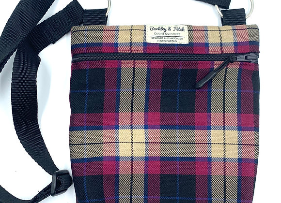 Wine Tartan Dog Walk and Treat Bag