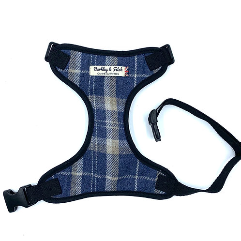 Blue Woolmix Check Dog Harness