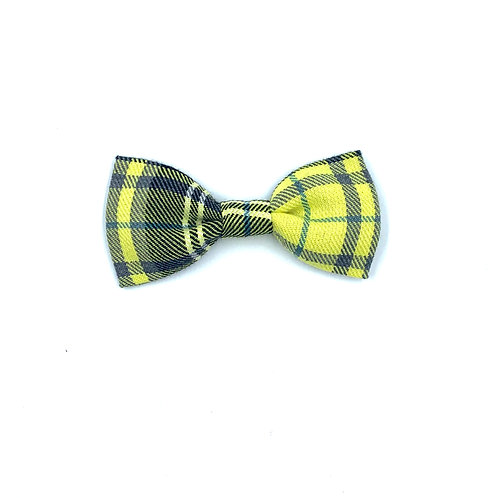 Lemon and Grey Tartan Dog Bow