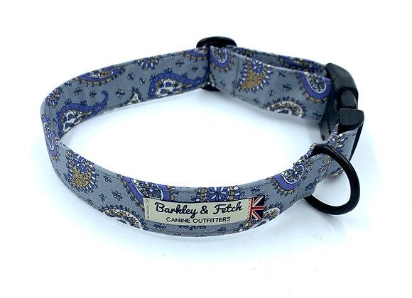 Blue Paisley Print Dog Collar