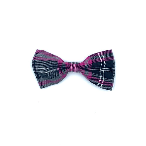 Pink and Grey Tartan Dog Bow