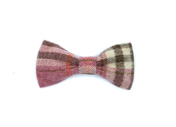 Pink Woolmix Check Dog Bow