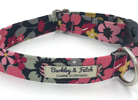 Black and Pink Flower Dog Collar