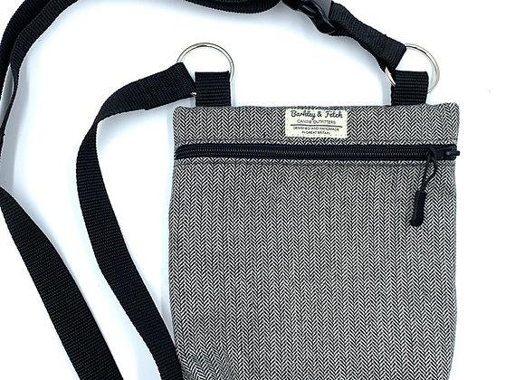 Grey Herringbone Dog Walk and Treat Bag