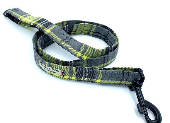 Lemon & Grey Tartan  Dog Lead