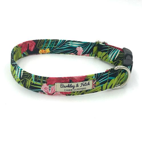 Green Tropical Print Dog Collar