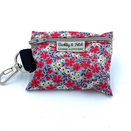 Grey/Pink Ditsy Floral Print Poo Bag Holder