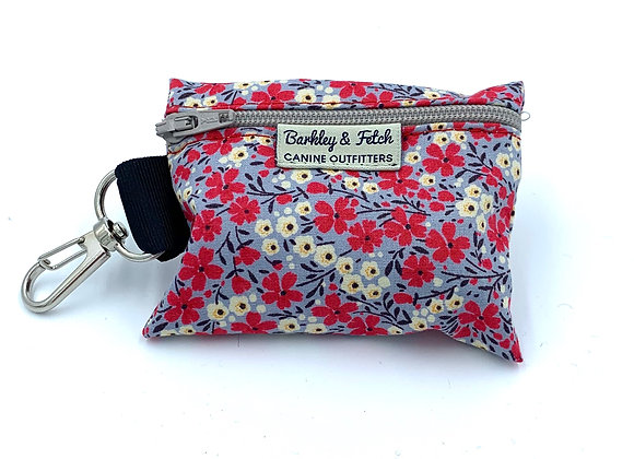 Grey/Pink Ditsy Floral Print Poo Bag Holder