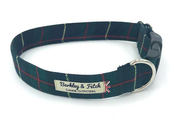 Green/Navy Tartan Dog Collar