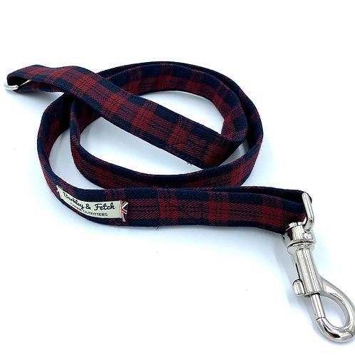 Burgundy/Navy Tartan Dog Lead