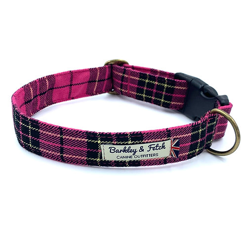 Pink/Gold Lurex Tartan Dog Collar
