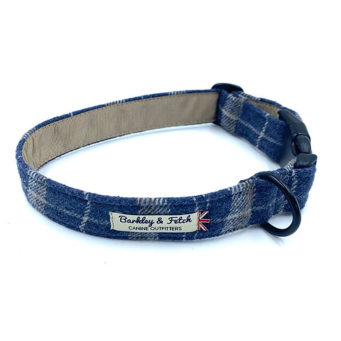 Blue Woolmix Check Dog Collar