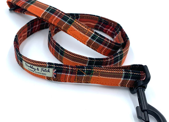 Retro Orange Tartan  Dog Lead