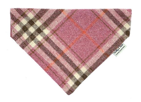 Pink Woolmix Check Dog Bandana