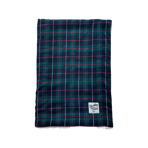 Green/Navy Tartan Dog Blanket