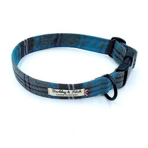 Turquoise and Grey Tartan Dog Collar