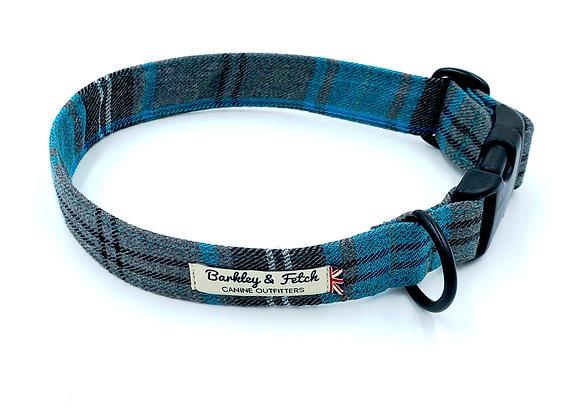 Turquoise Tartan Dog Collar
