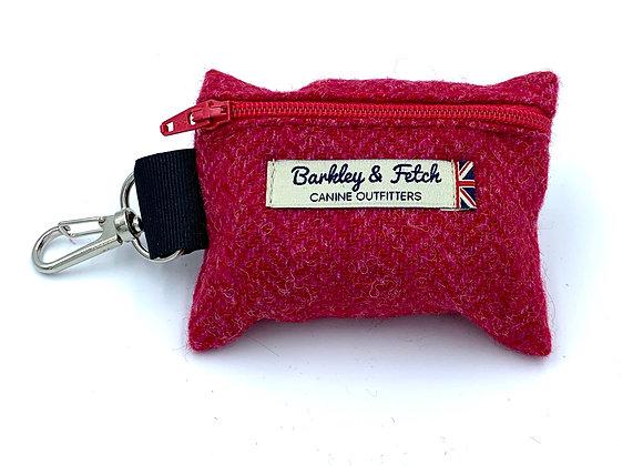 Pink Wool Herringbone Poo Bag Holder