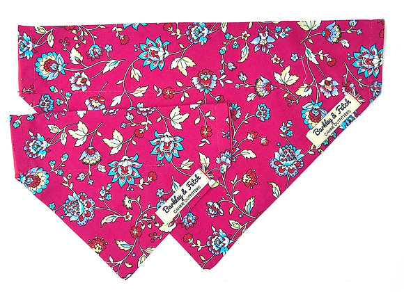 Hot Pink Flower Print Dog Bandana