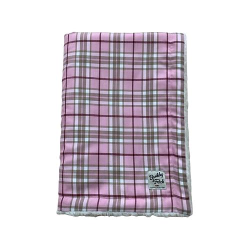 Pale Pink Tartan Dog Blanket