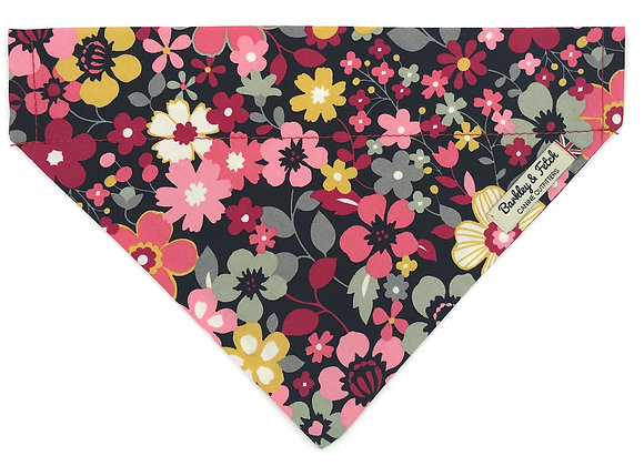 Black and Pink Flower Dog Bandana
