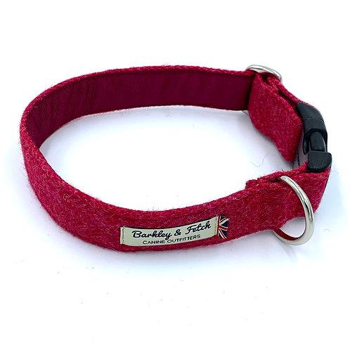 Pink Wool Herringbone Dog Collar