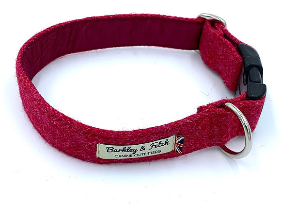Pink Wool Herringbone Dog Collar