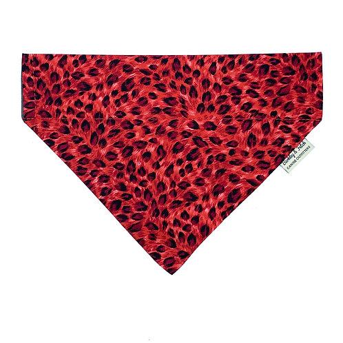 Red Leopard Print Dog Bandana