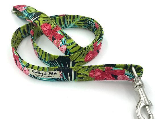 Green Tropical Print Dog Lead