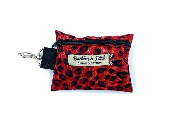 Red Leopard print Poo Bag Holder