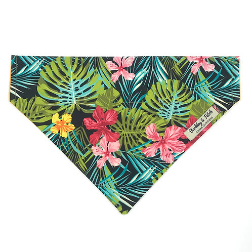 Green Tropical Print Dog Bandana