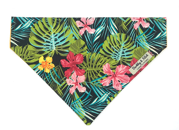 Green Tropical Print Dog Bandana