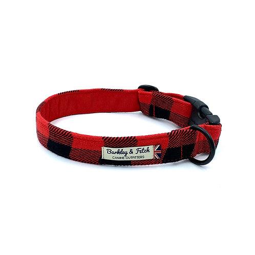 Red Lumberjack Dog Collar