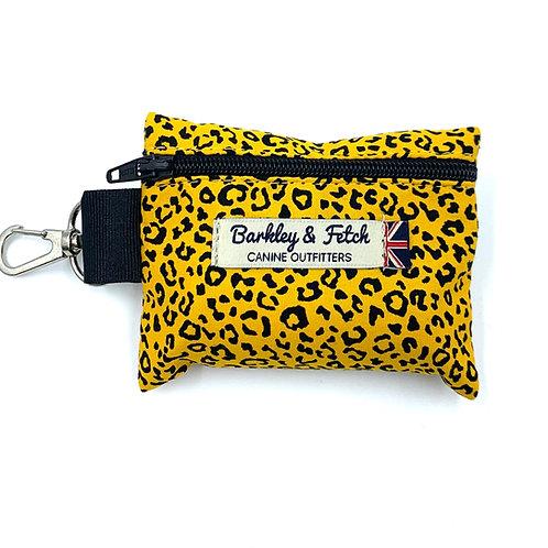 Ochre Leopard Print Poo Bag Holder