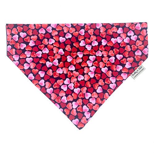 Love Hearts Print Dog Bandana
