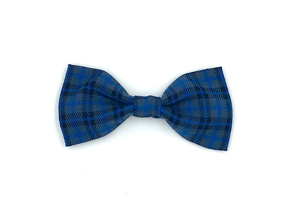 Dk Blue Tartan Dog Bow