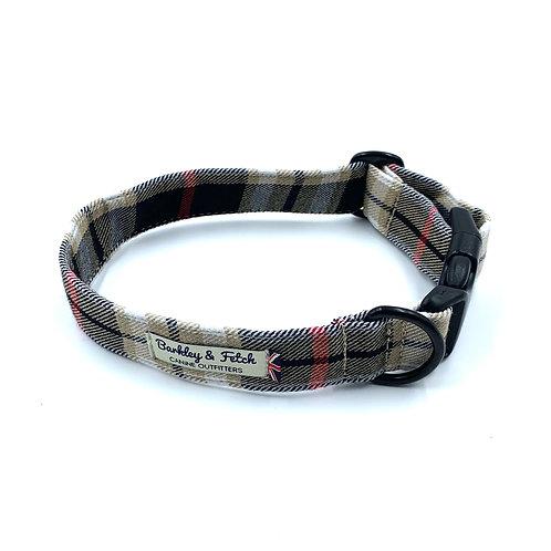 Black Beige Tartan Dog Collar