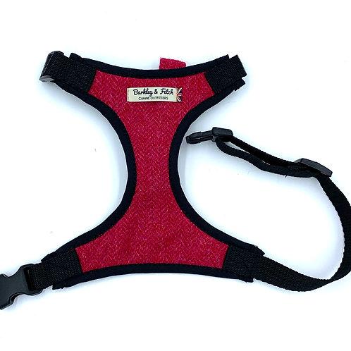 Pink Wool Herringbone Dog Harness