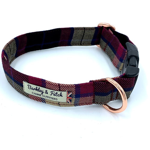 Wine Tartan Dog Collar