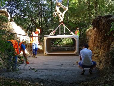 Mise en place d'un pont cadre sur un affluent du Langis (commune de Parassy)