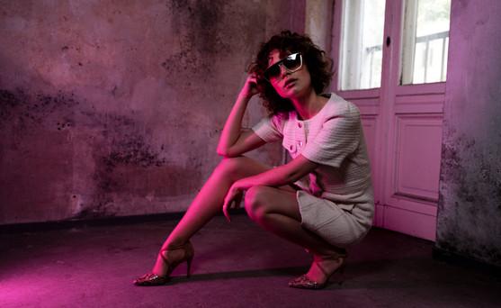 Model: Victoria Anders Hair&MakeUp: Juliett Baar Dress: Maje Shoes: Dune Sunglasses: Claus Tyler