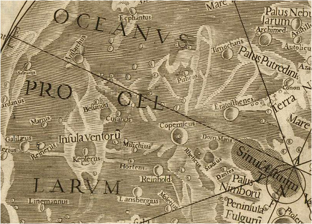 Détail de la carte de la Lune de Riccioli