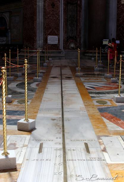 La méridienne de l'église Santa Maria degli angeli à Rome