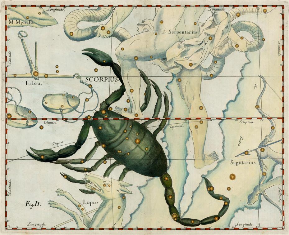 Le Scorpion dans l'atlas d'Hevelius (1690)
