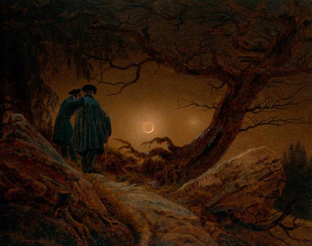 """Tableau """"Deux hommes contemplent la Lune"""" de Friedrich"""