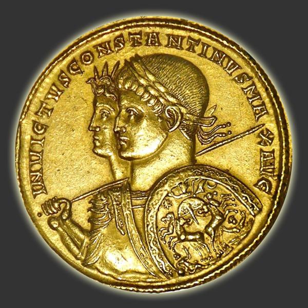Pièce de monnaie romaine sur laquelle figure le dieu Sol Invictus.