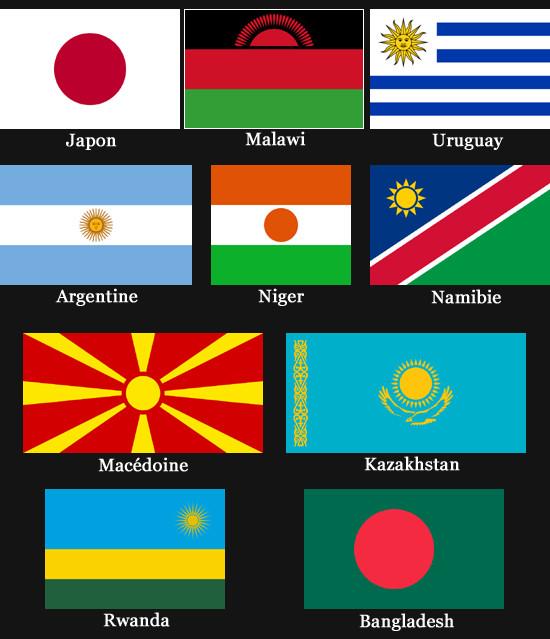 Drapeaux représentant le Soleil (Japon, Malawi, Uruguay, Argentine, Niger, Namibie, Macédoine, Kazakhstan, Rwanda et Bangladesh)