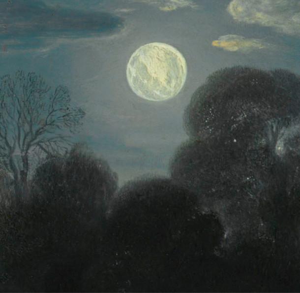 """Detail de la Lune sur le tableau """"La fuite en Egypte"""" peint par Elsheimer."""