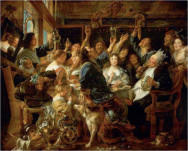La fête des rois, peinture de Jacobs Jordaens (1646)