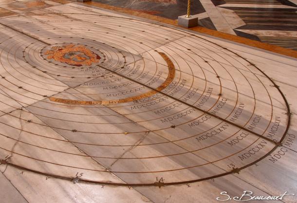 Detail de la méridienne de l'église Santa Maria degli angeli à Rome